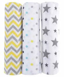 haus & kinder 100% Cotton Muslin Swaddle Wrap Pack of 3 - Multicolor