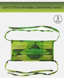 Tossido Reusable Printed Cotton Face Mask with Drawstring Green - Pack of 3