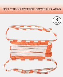 Tossido Reusable Printed Cotton Face Mask with Drawstring White Orange - Pack of 3