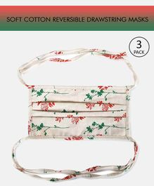 Tossido Reusable Cotton Face Mask with Drawstring Floral Print White - Pack of 3