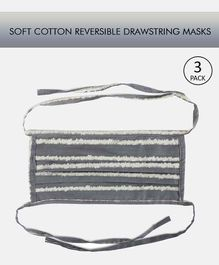Tossido Reusable Cotton Face Mask with Drawstring Grey - Pack of 3
