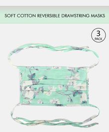 Tossido Reusable Cotton Face Mask with Drawstring Floral Print Blue- Pack of 3