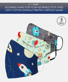Tossido 2 to 7 Years Printed 3 Ply Cotton Elastic Kids Masks Grey Blue - Pack of 3