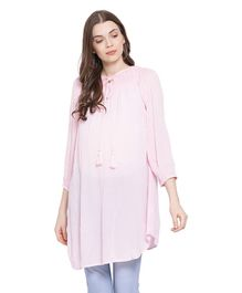 Oxolloxo Full Sleeves Knot Style Maternity Tunic - Light Pink