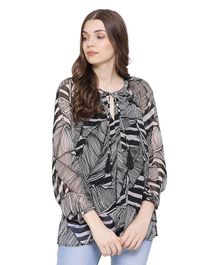 Oxolloxo Full Sleeves Leaves Print Maternity Tunic - Black
