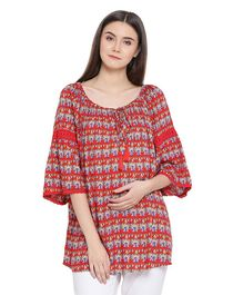 Oxolloxo Three Fourth Sleeves Maternity Abstract Floral Print Top - Red
