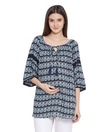 Oxolloxo Three Fourth Sleeves Maternity Abstract Floral Print Top - Blue