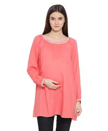 Oxolloxo Full Sleeves Flower Embroidered Maternity Top - Pink