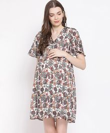 Oxolloxo Half Sleeves Flower Print Maternity Dress - Beige