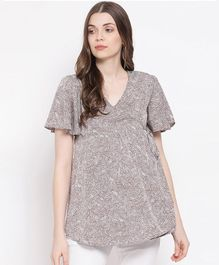 Oxolloxo Half Sleeves Abstract Print Maternity Top - Beige