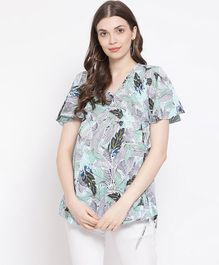 Oxolloxo Half Sleeves Tropical Print Maternity Top - Blue