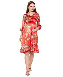 Oxolloxo Three Fourth Sleeves Flowers Printed Maternity Dress  - Red