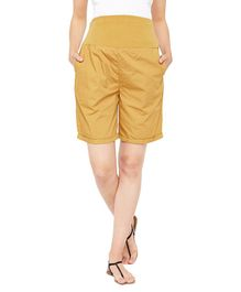 Oxolloxo Solid Maternity Shorts - Yellow