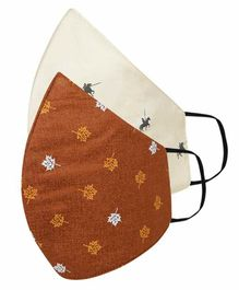 Tossido Free Size 3 Ply Cotton Elastic Dads Masks Leaf Print Brown White - Pack of 2