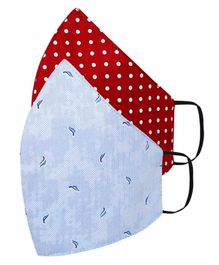 Tossido Free Size 3 Ply Cotton Elastic Dads Masks Dot Print Blue Red - Pack of 2
