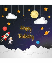 Untumble Space Happy Birthday Backdrop - Blue