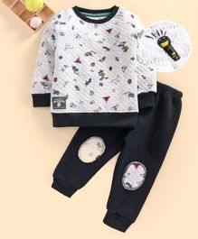 Ollypop Full Sleeves Sweatshirt and Pant Set Mountain Print - Grey Melange
