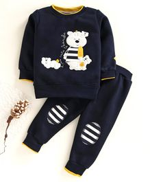 Ollypop Winter Wear Full Sleeves Tee With Lounge Pant Bear Patch - Navy