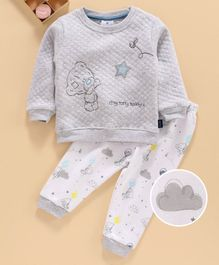 First Smile Full Sleeves Winter Wear Night Suit Teddy Embroidery - Grey