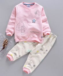 First Smile Full Sleeves Winter Wear Night Suit Teddy Embroidery - Pink