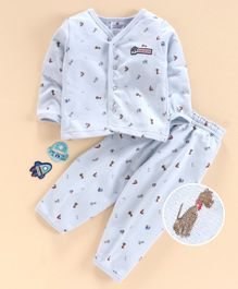 First Smile Full Sleeves Night Suit Multi Print - Blue