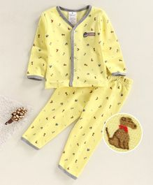 First Smile Full Sleeves Night Suit Boat Print - Yellow