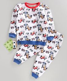 Ollypop Full Sleeves Night Suit Sports Car Print - White