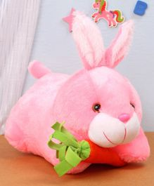 Benny & Bunny Rabbit Soft Toy with Carrot Pink- Length 26 cm