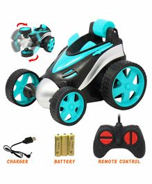 Fiddlerz 360°Rotating Rolling Electric RC Race Toy Car - Blue