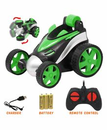 Fiddlerz 360°Rotating Rolling Electric RC Race Toy Car - Green