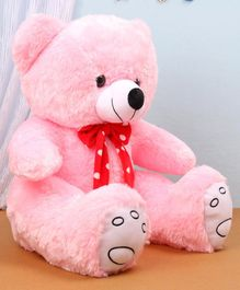 Benny & Bunny Teddy Bear Soft Toy with Polka Dot Bow Pink - Height 42 cm