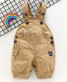 Olio Kids Sleeveless Solid Color Dungaree style Romper - Brown
