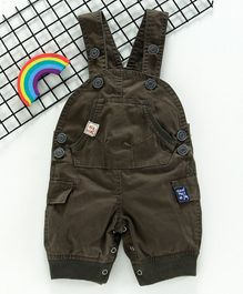 Olio Kids Sleeveless Solid Color Dungaree style Romper - Dark Brown