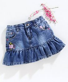 Olio Kids Skirt Floral Embroidered - Blue