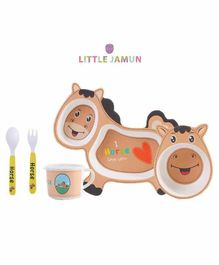 Little Jamun Horse Shaped Bamboo Fibre Feeding Set with Cutlery 5 Pieces - Brown