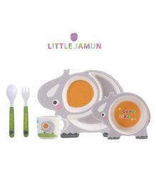 Little Jamun Elephant Shaped Bamboo Fibre Feeding Set with Cutlery 5 Pieces - Grey