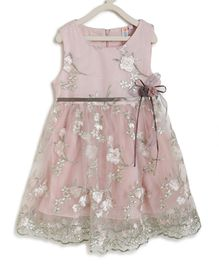 Kids On Board Sleeveless Flower Embroidery Detailing Flared Dress - Light Pink