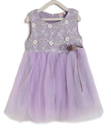 Kids On Board Sleeveless Flower Embroidery Detailing Flared Dress - Purple