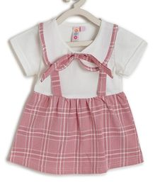 Kids On Board Short Sleeves Checkered Dress - Red