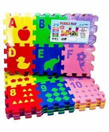 FunBlast Alphabet & Number Interlocking Foam Puzzle Mat Multicolor - 36 Pieces