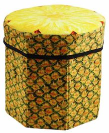 FunBlast Pineapple Printed Storage Box With Lid - Yellow