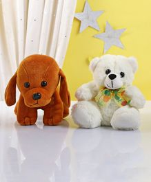 Zoe Dog & Teddy Bear Soft Toy Orange & Cream - Height 15 cm