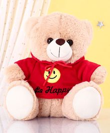 Zoe Teddy Bear With Hoodie Soft Toy Red Cream - Height 25 cm