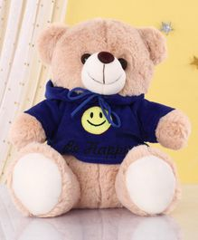 Zoe Teddy Bear With Hoodie Soft Toy Blue Cream - Height 25 cm
