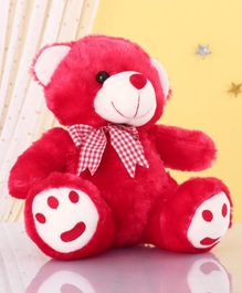 Zoe Teddy Bear With Bow Soft Toy Red - Height 28cm
