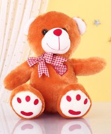 Zoe Teddy Bear With Bow Soft Toy Brown - Height 28cm