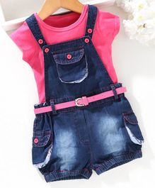 Chicklets Half Sleeves T-Shirt With Dungaree & Belt - Pink