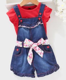 Chicklets Short Sleeves T-Shirt With Shaded Denim  Dungaree & Belt - Red & Blue
