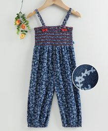 Chicklets Flower Print Sleeveless Jumpsuit - Blue & Red