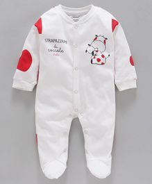 Cucumber Full Sleeves Footed Sleep Suit Car Print - White Red
